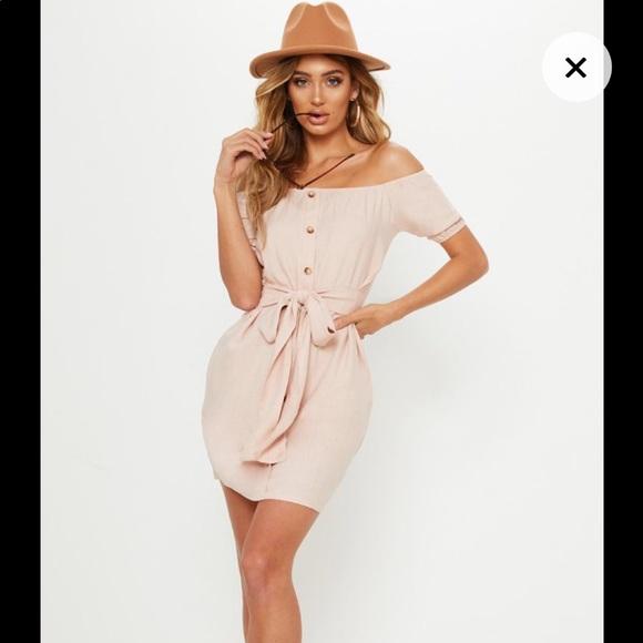 f5a858b8fa68 Dusty Pink Bardot Button Tie Waist Shift Dress. NWT. PrettyLittleThing
